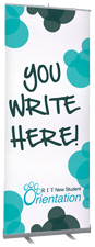 Dry Erase Banner with Retractible Stand